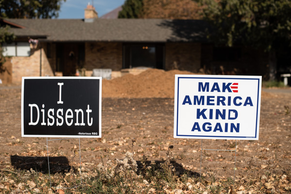 Voting signs in Mapleton, Utah